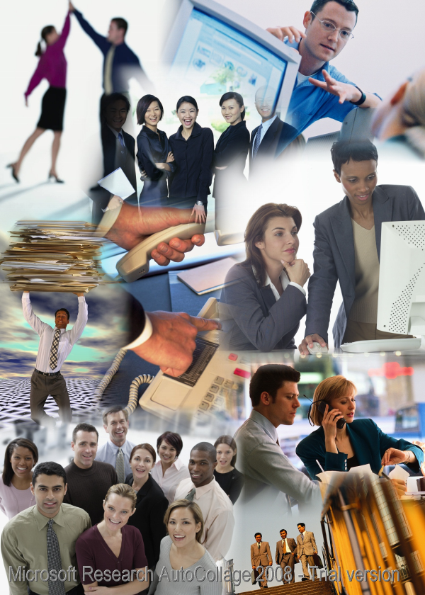 Collage of people and document uses in business