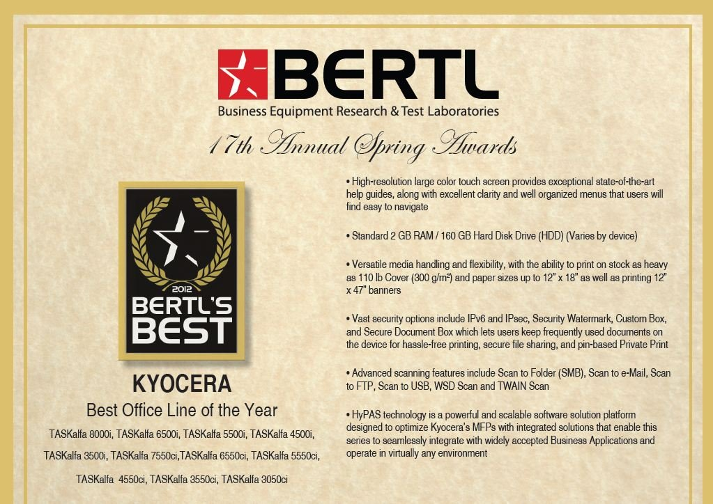 Bertyl Best Line Award 2012