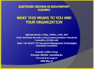 Cover page Electronic Documents as Evidence Presentation