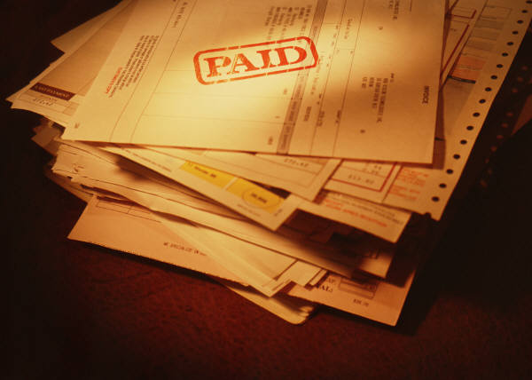 Stack of invoices