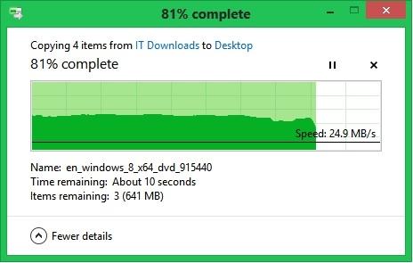 Windows 8 File Transfer Dialogue