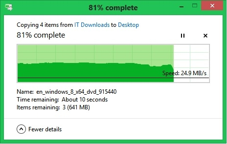 Windows 8 File Transfer Dialogue