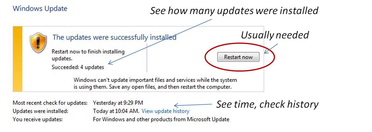 Windows Update Dialogue Box