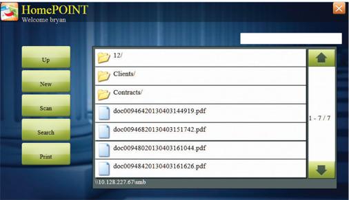 Kyocera HyPAS Homepoint Screen