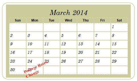 2014 Canadian Postage Rates Change Calendar resized 600