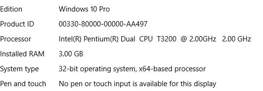 Laptop technical specs using Windows 10 Pro