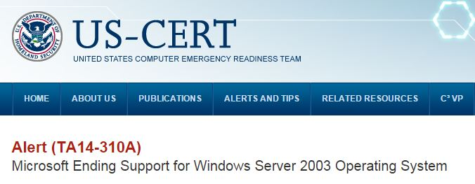 USHomelandSecurityWarnsAboutIgnoringEOSofWindowsServer2003